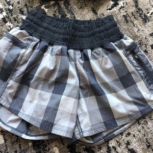 Lululemon Grey Plaid Tracker Shorts